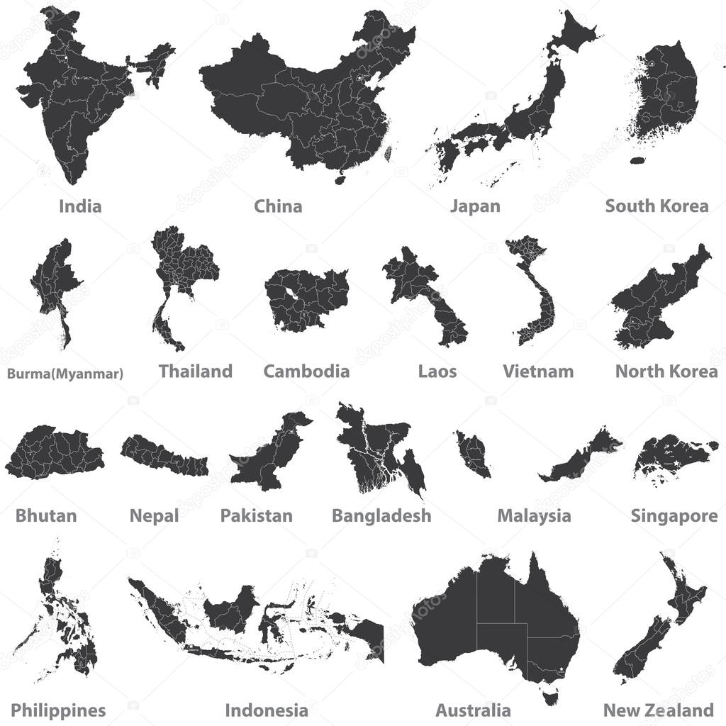 maps of asian countries, Australia and New Zealand