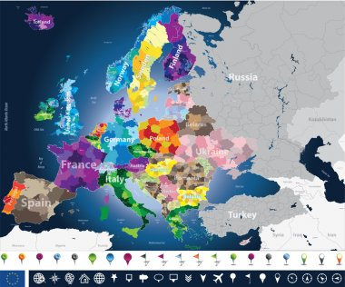 High detailed Europe map with coutries names and region borders
