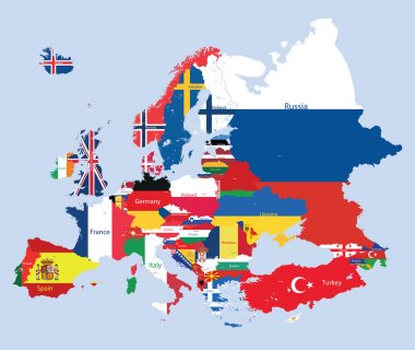 Vector European map combined with flags
