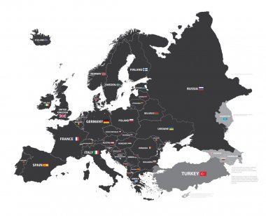 european map with country names and flags