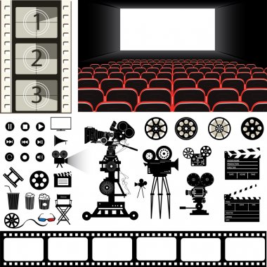 cinema objects vector illustration