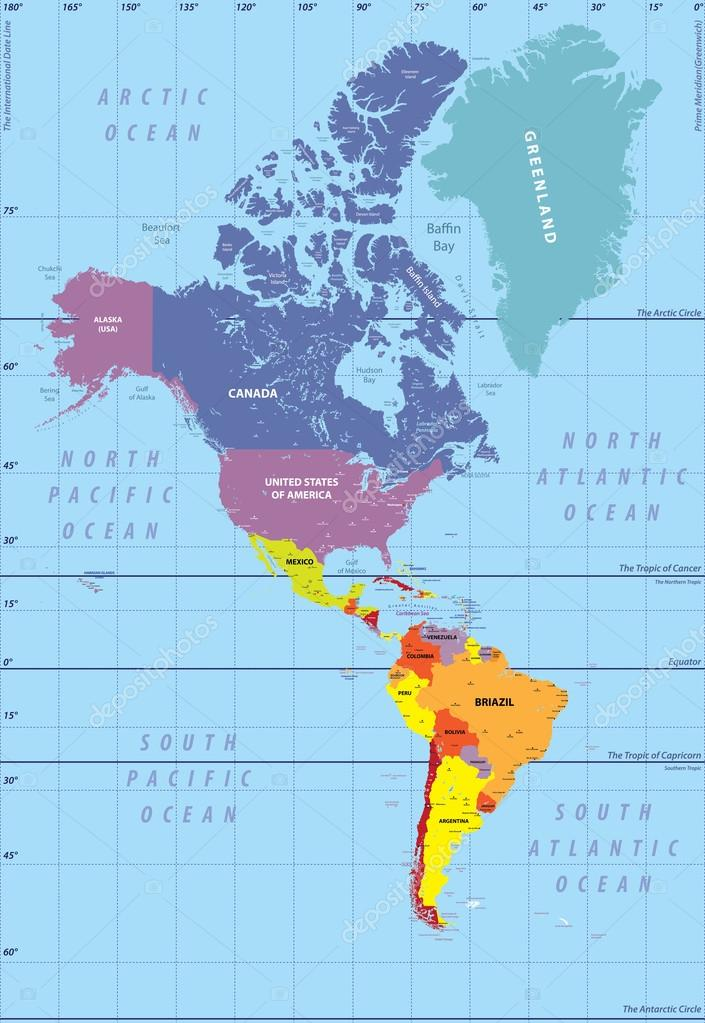 High Detailed Map Of North And South America Stock Vector