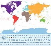 Politická mapa světa, barevné kontinentů s mnoha cestovních ikony a tak