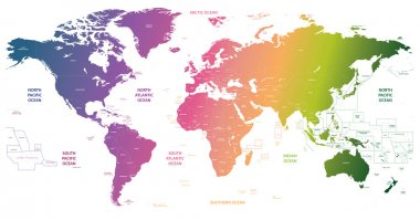 vector bright gradient political map of the world