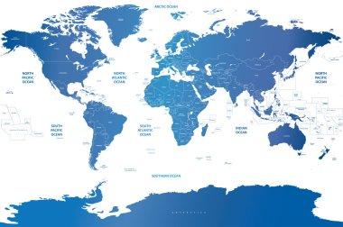 soft blue gradient political world map