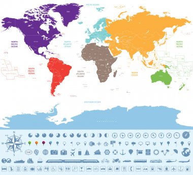 political map of the world colored by continents with many travel icons and stuff