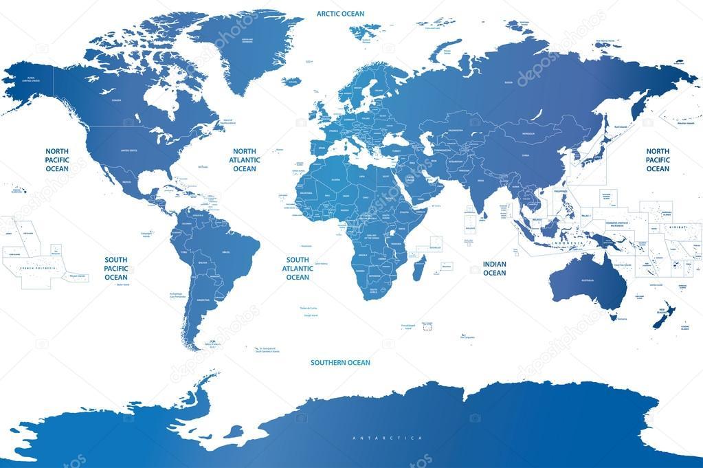 soft blue gradient political world map stock vector
