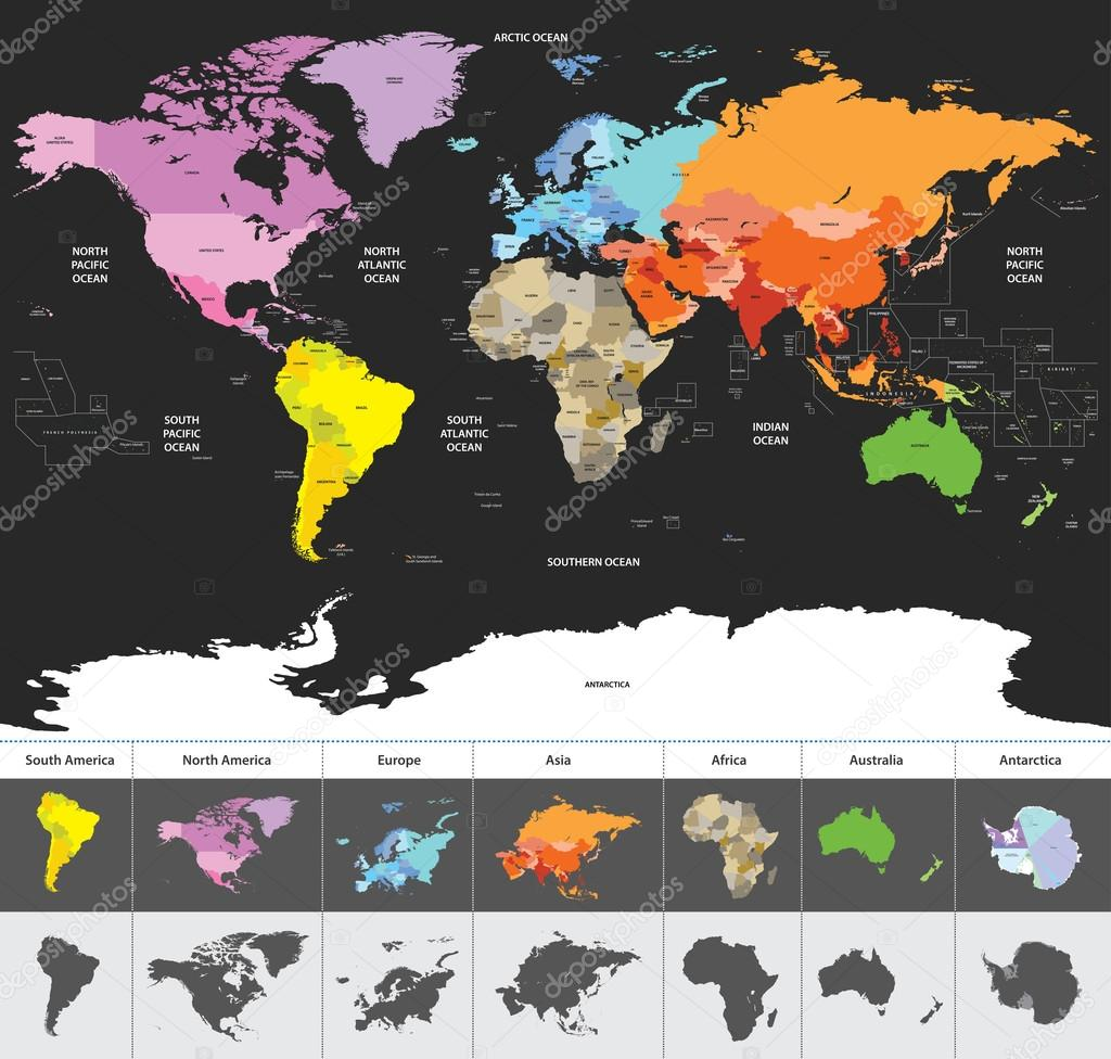 political world map of the world colored by continents — Stock ...