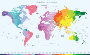 vector color worldwide map of local time zones