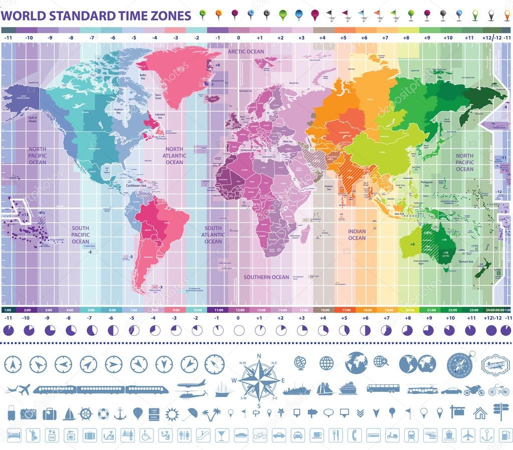 world standard time zones map with clocks, navigation and travel ...