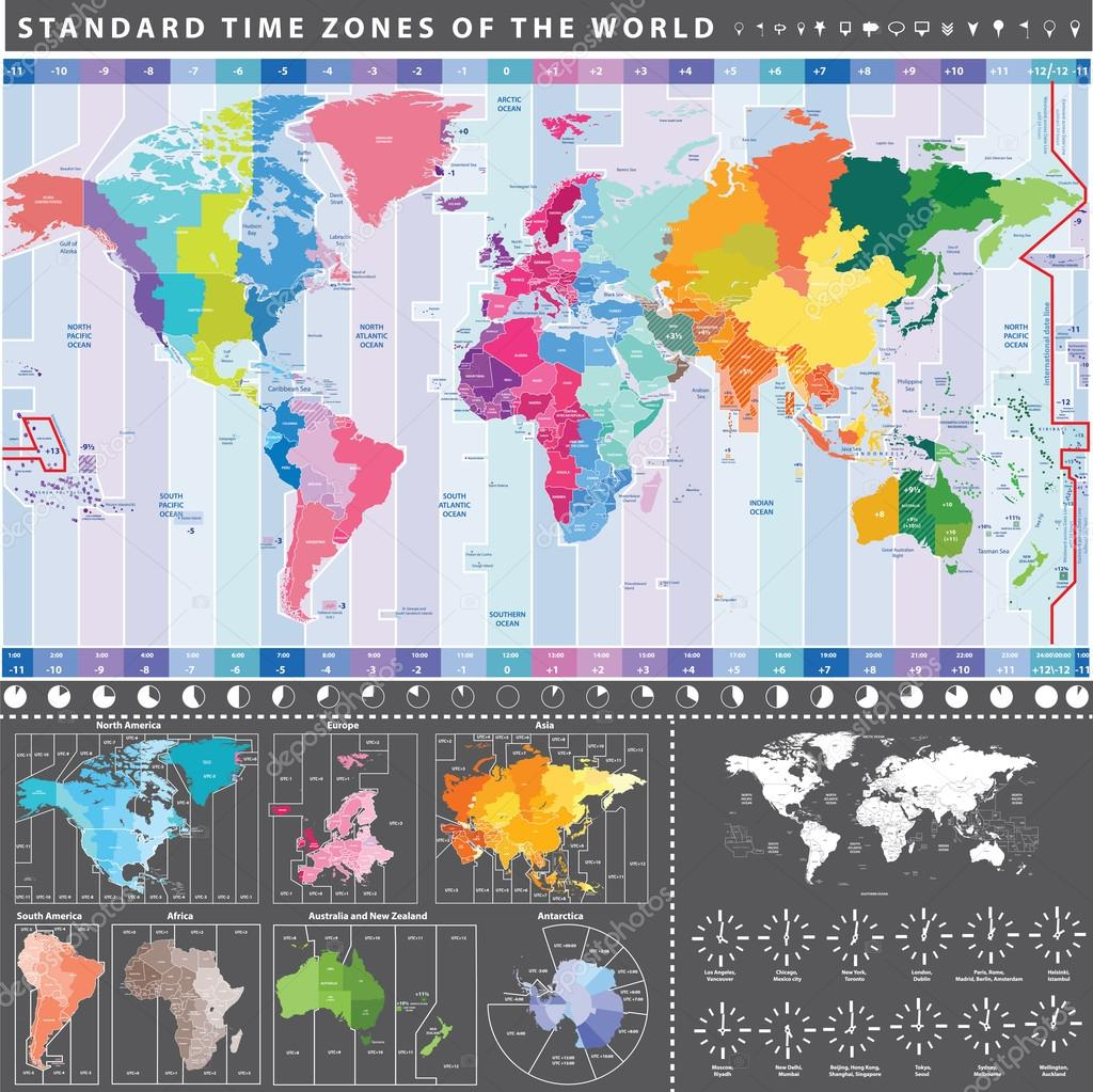Map of standard time zones of the world with continents separately map of standard time zones of the world with continents separately and clocks with current local gumiabroncs