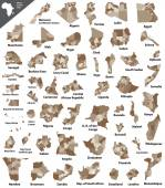 Fotografie African vector isolated country maps