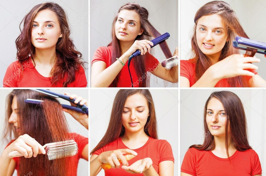 Woman straightening her hair