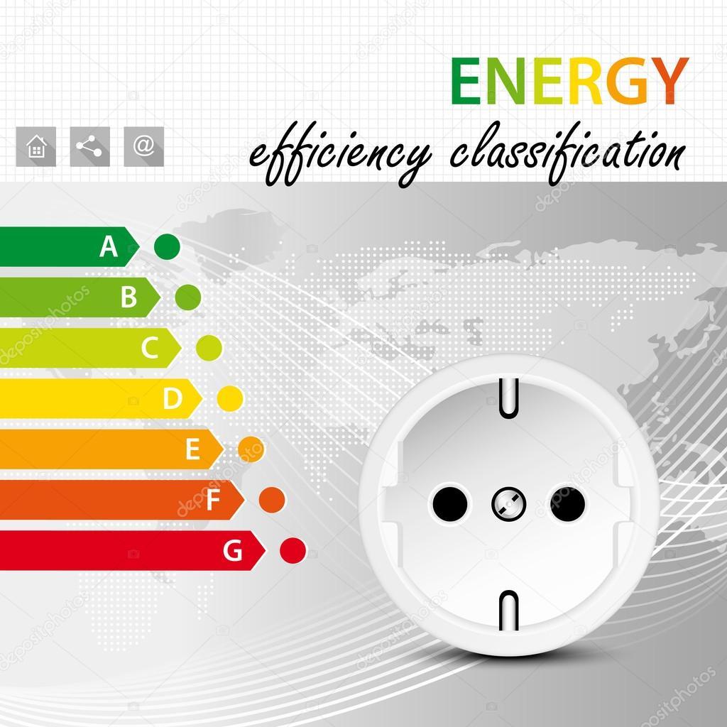 Energieeffizienz Klassifizierung Konzept - Stromverbrauch Broschüre ...
