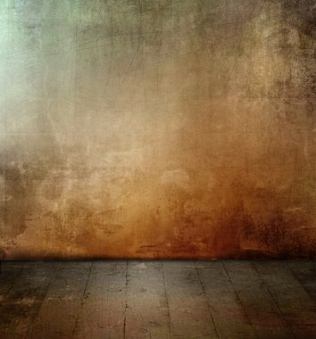 Dark grunge room with colored concrete wall texture and old floor