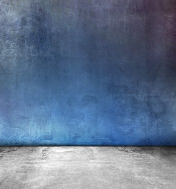 Grunge blue room design with gray polished concrete floor texture