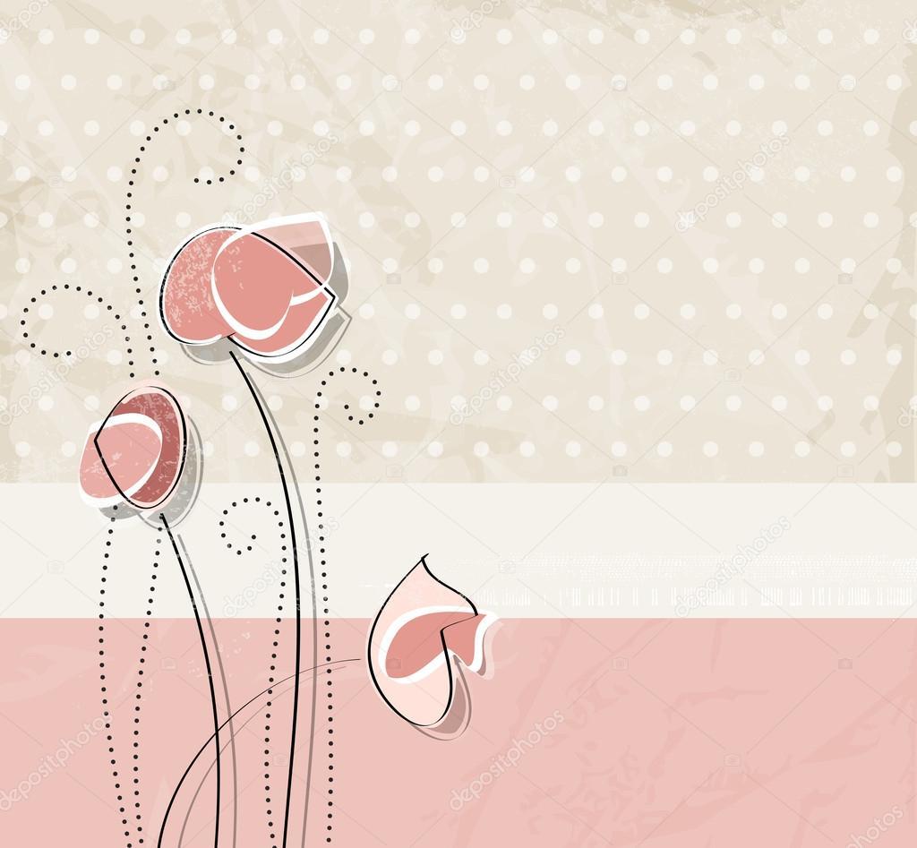 Soft Pink Vintage Flower Background Stock Vector