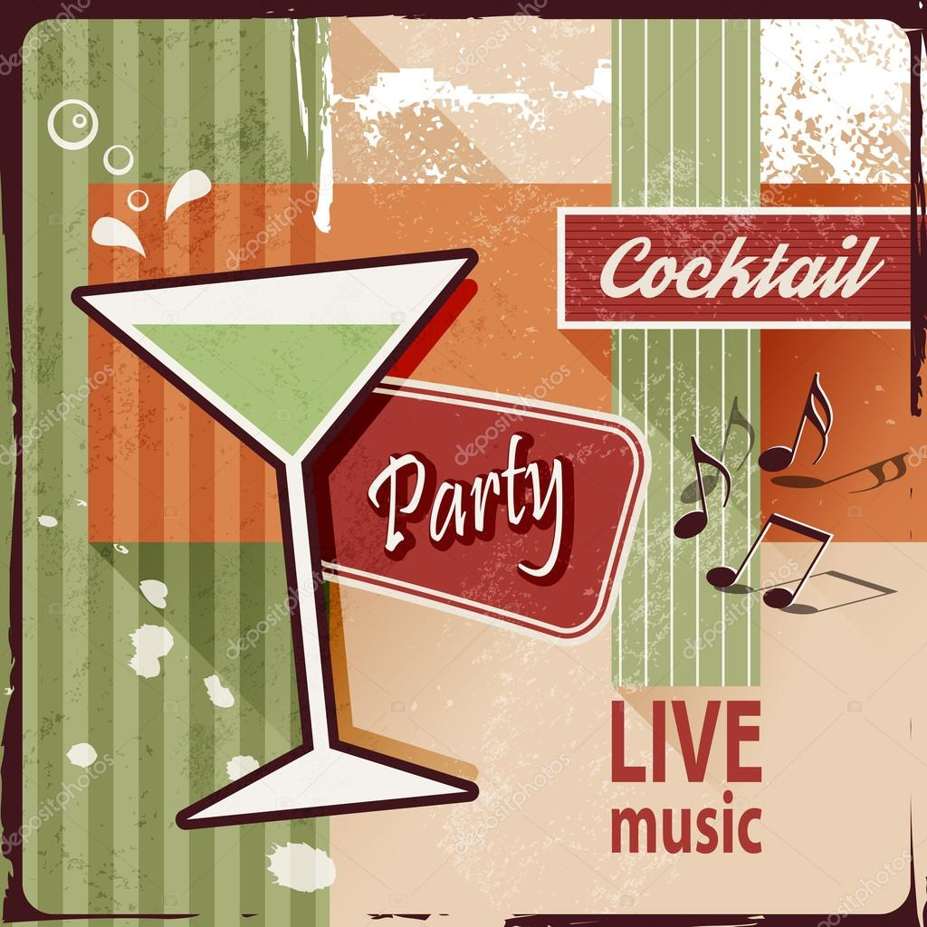 Poster design notes - Cocktail Party Invitation With Music Notes Vintage Poster Design Stock Illustration
