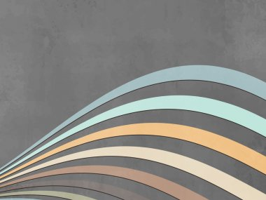 Grey wave background with soft colored curves - abstract retro lines