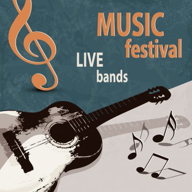 Music festival poster with retro guitar