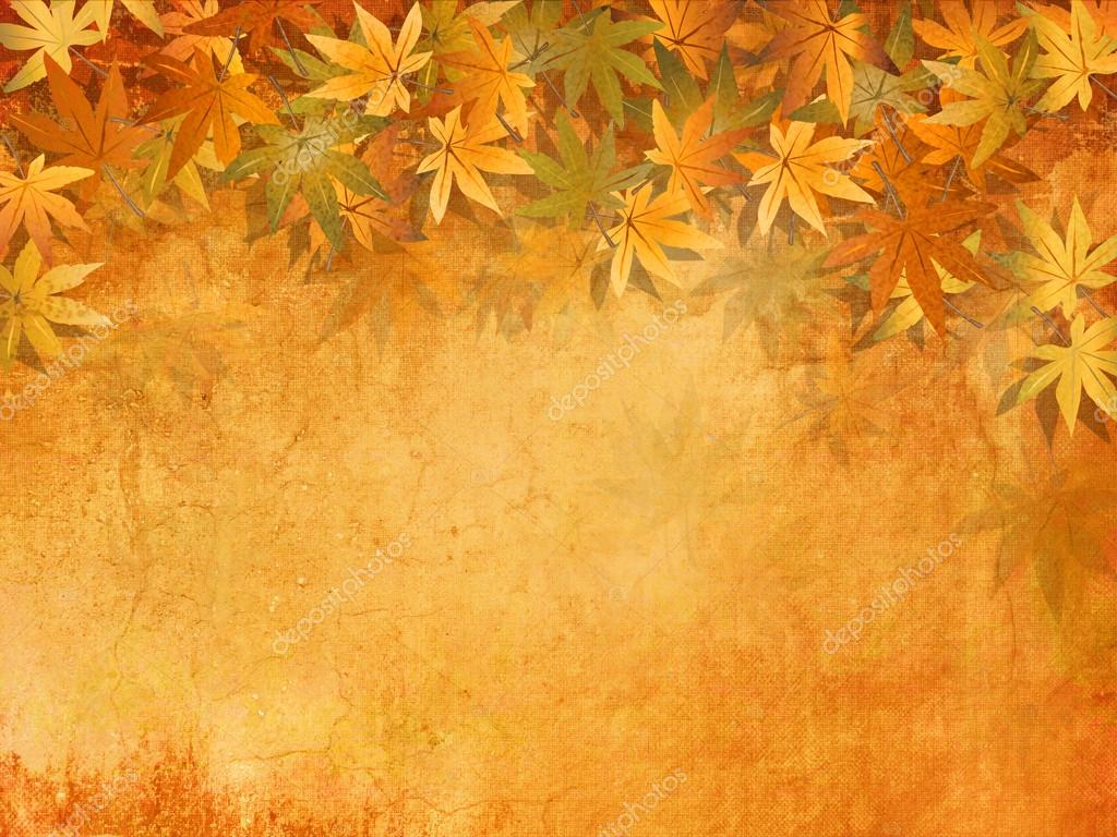 Fall leaves background in yellow orange autumn colors vintage