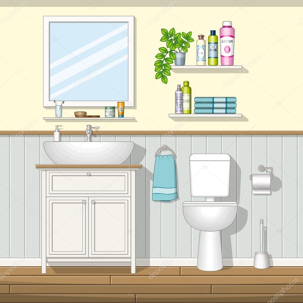 Illustration d 39 une salle de bain image vectorielle g - Cout d une salle de bain ...