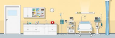 Illustration an intensive care unit, panorama