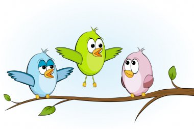 Three funny birds on a branch