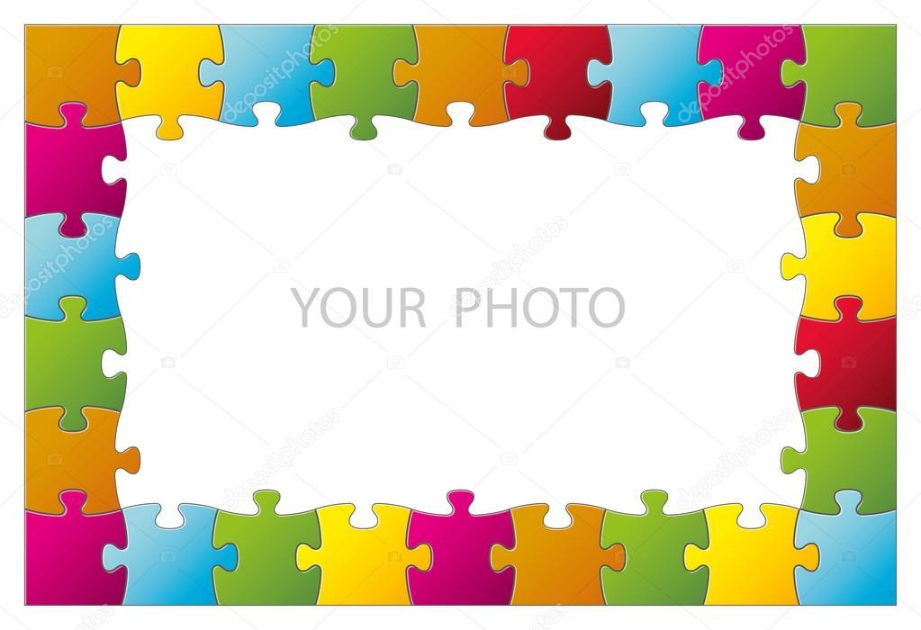Rompecabezas de colores como un marco — Vector de stock © G.Wolf ...