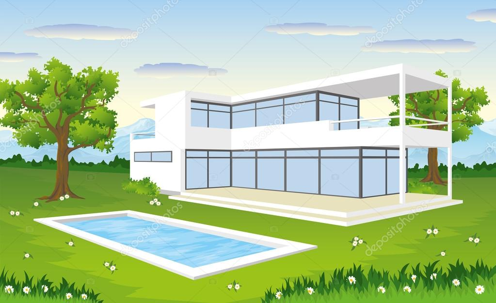 Elegant Modernes Ein Haus U2014 Vetores De Stock