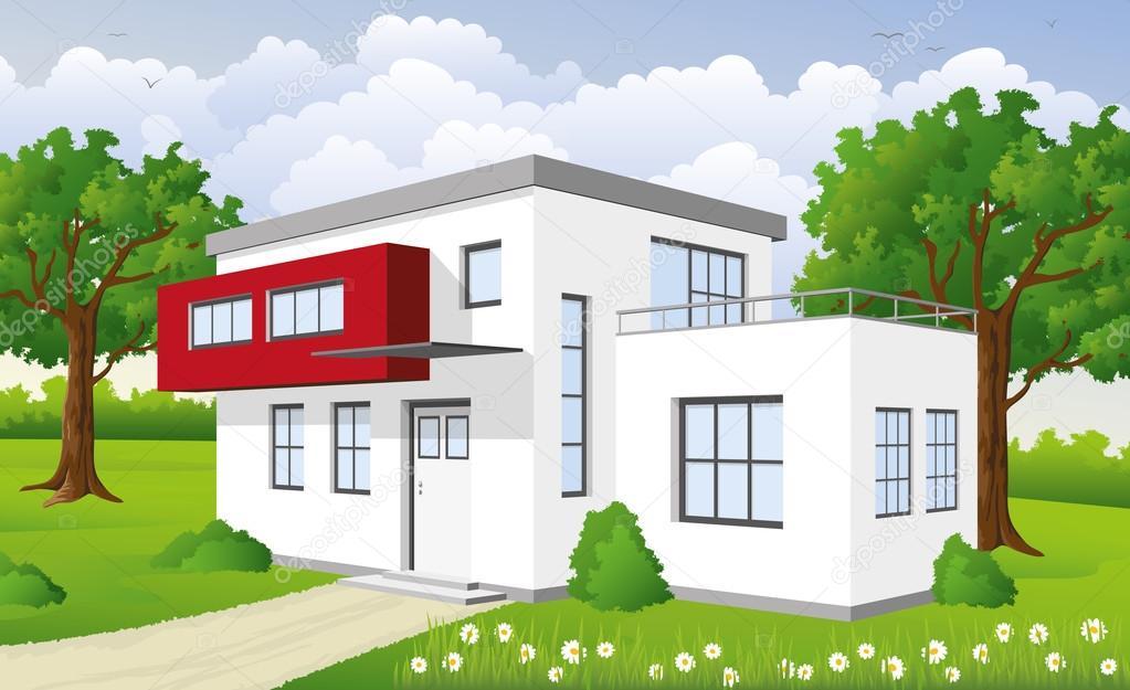 Modernes Ein Haus U2014 Vetores De Stock