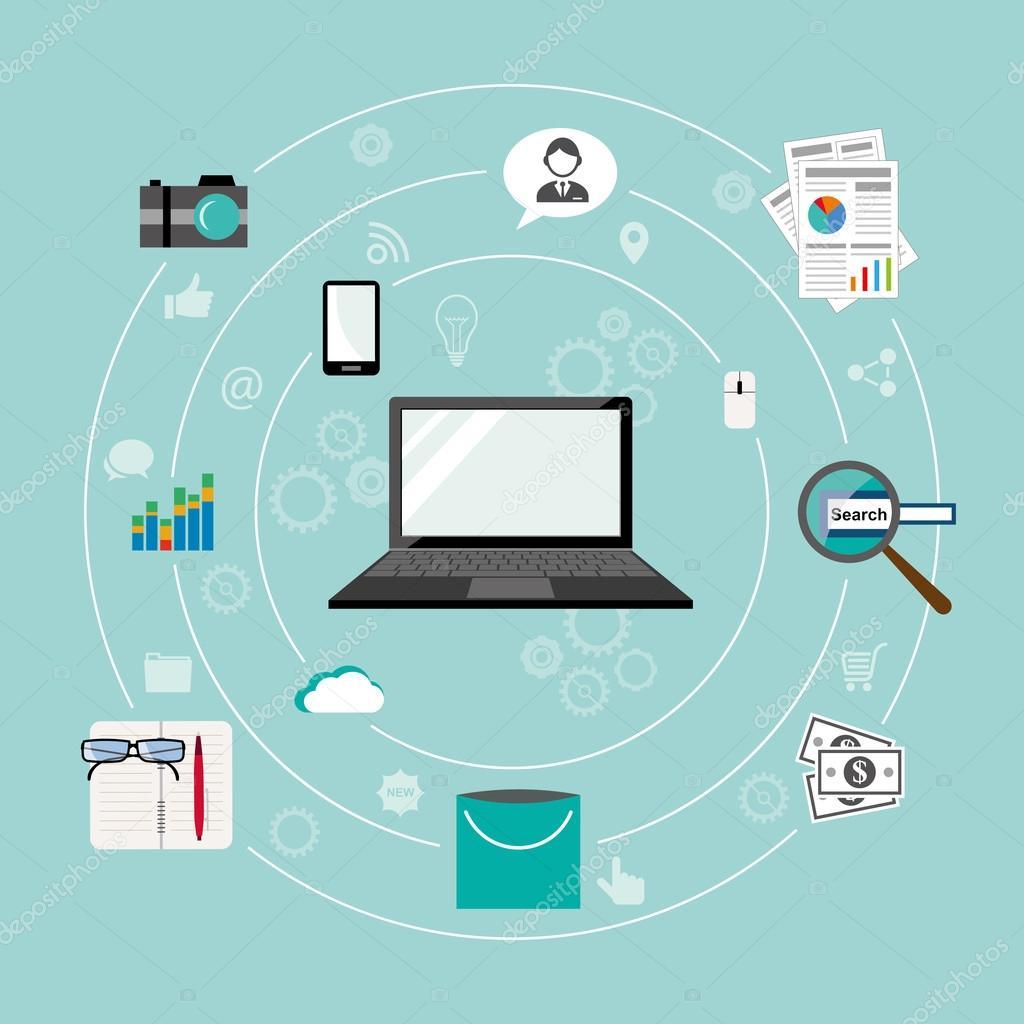 Internet of Things flat iconic illustration