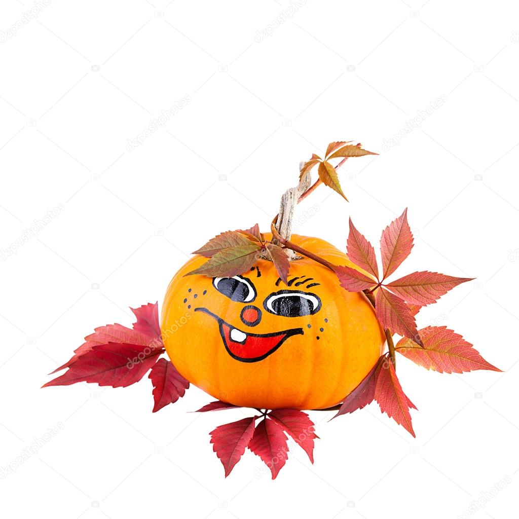 Funny Pumpkin with Autumn Leaves