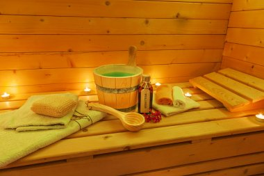 Interior of Sauna with Sauna Accessories