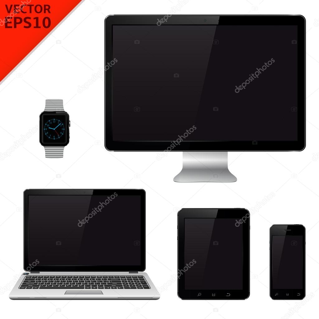 Monitor de la computadora, laptop, tablet pc, teléfono móvil y reloj ...