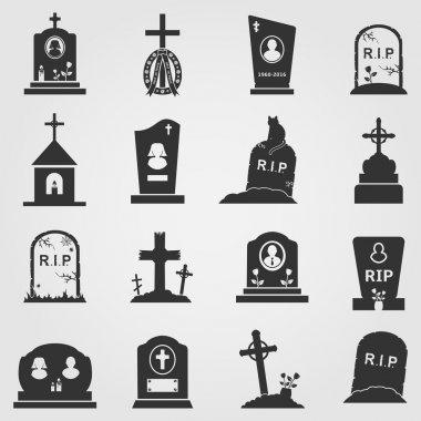 Cemetery crosses, tombstones and gravestones web icons set. Vector illustration. stock vector