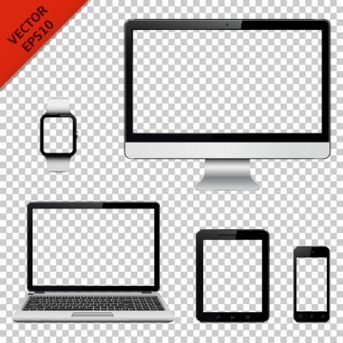Digital devices with transparent screen isolated on transparent background