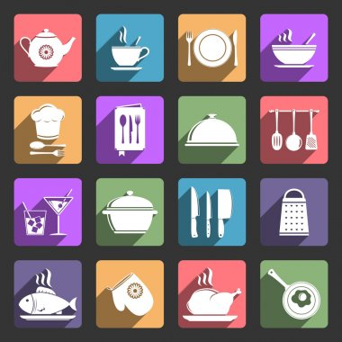 Food and kitchen flat icons