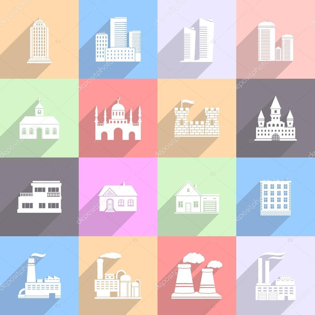 Building Flat Icons Set