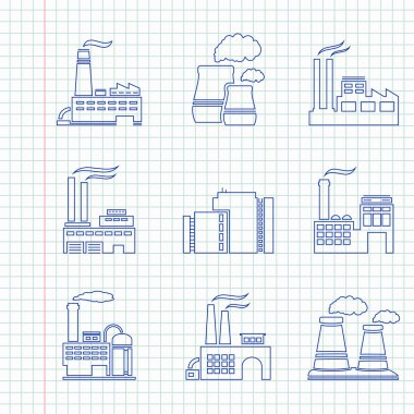 Hand drawn factory icons