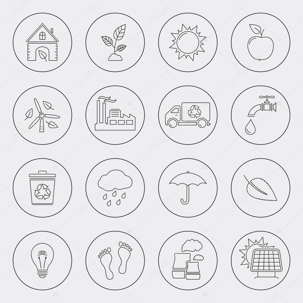 Ecology icons with circle line