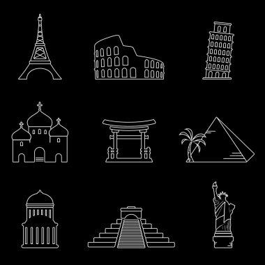 Landmarks thin line icons
