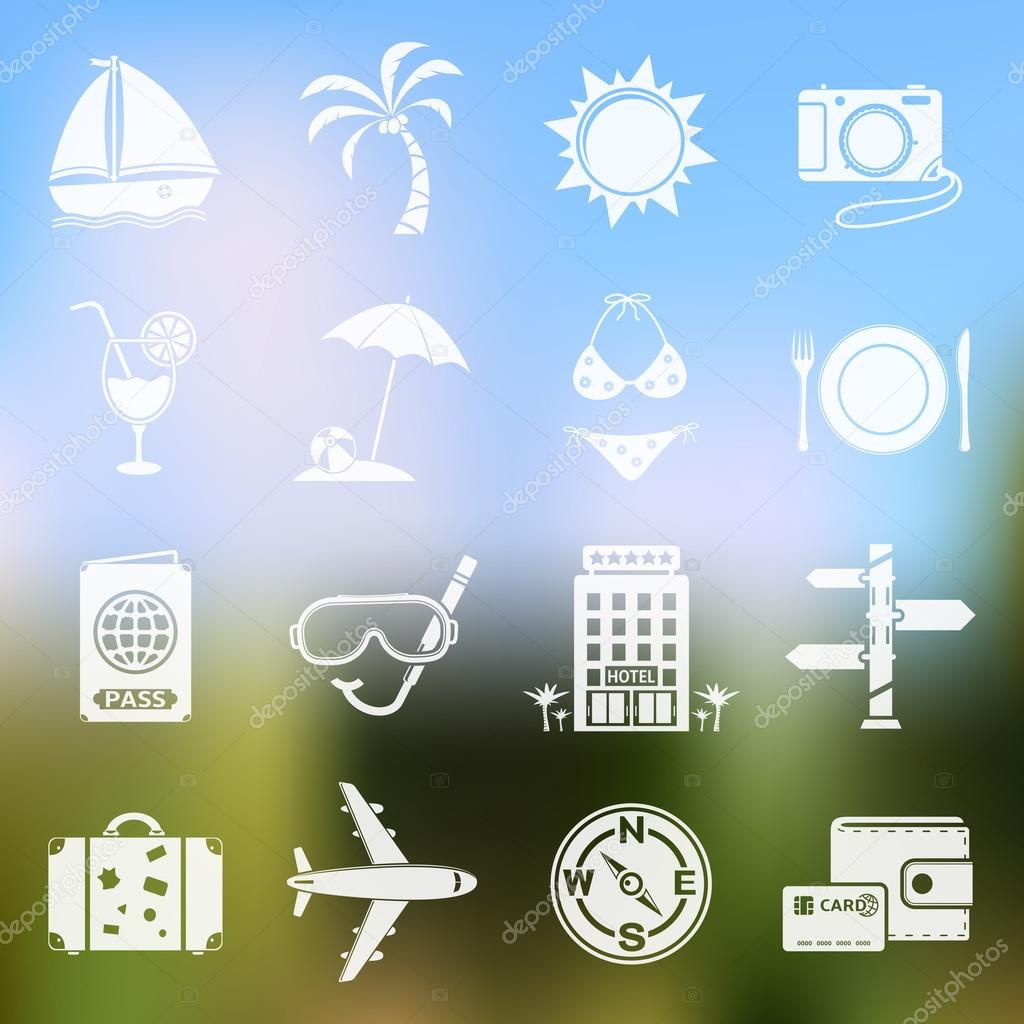 Travel icons on blurred background