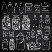 Fotografie kitchen jars and bottles set