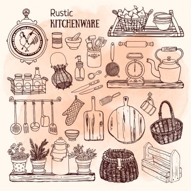 rustic kitchenware icons set