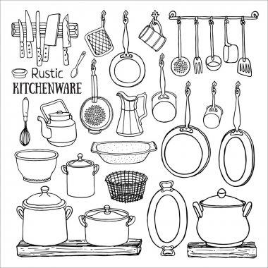 rustic kitchenware icons set