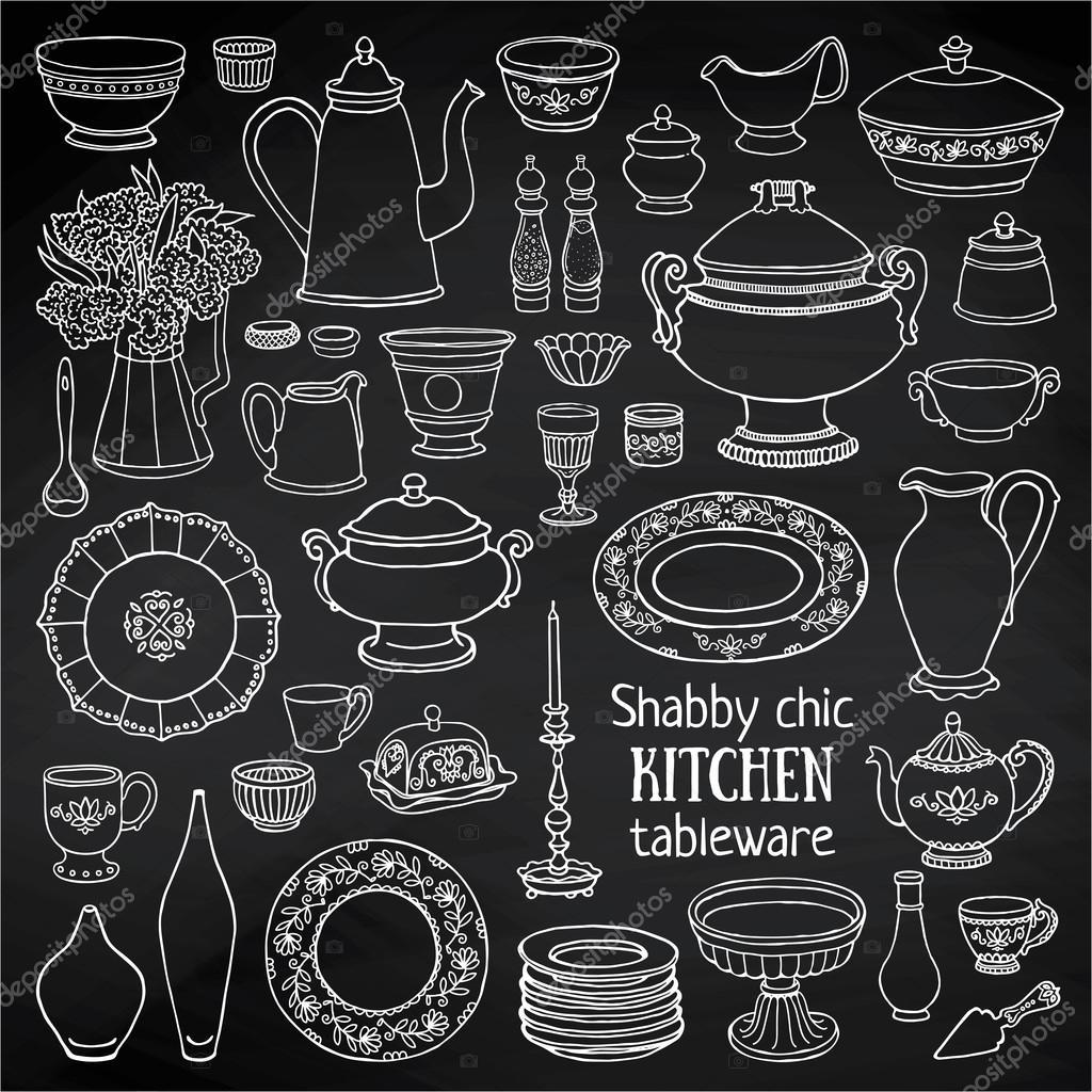 Conjunto de utensilios de cocina vintage vector de stock for Utensilios de cocina vintage