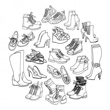 fashion set of female shoes