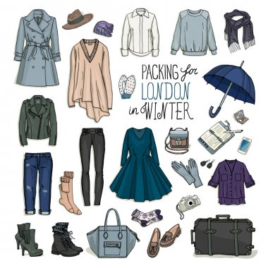 London winter travel luggage set