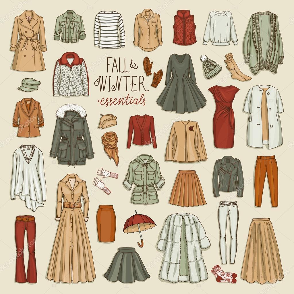 Collection de mode femme automne et hiver image vectorielle schiva 102722624 Mla winter style fashion set